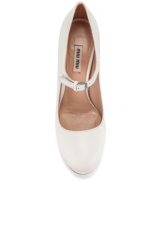 Image 4 of Miu Miu Plain Mary Jane Platform Heels in White