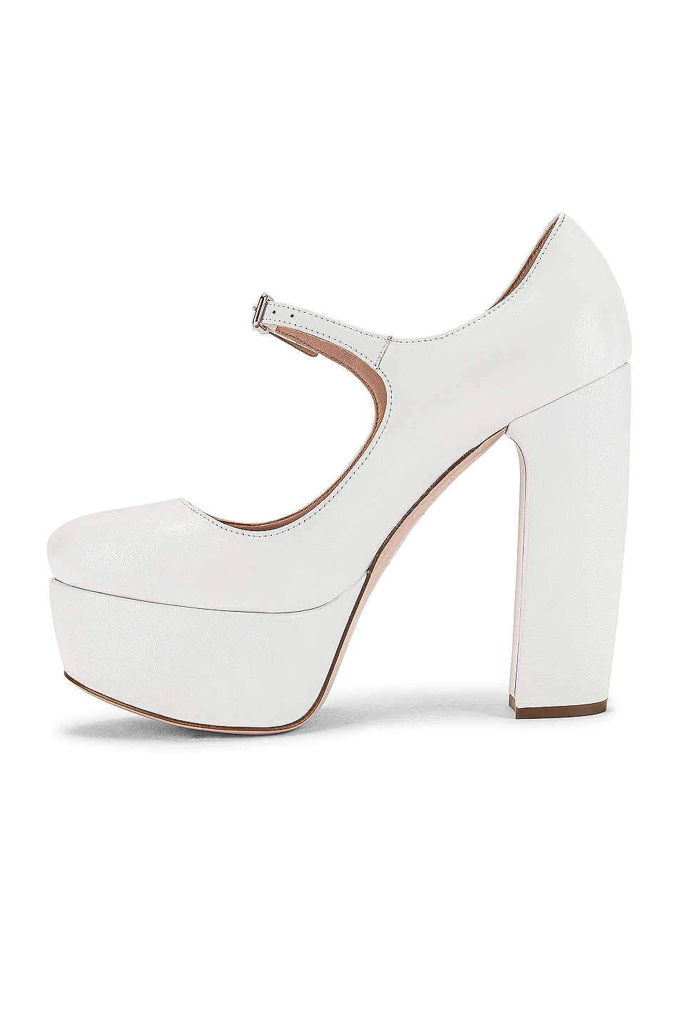 Image 5 of Miu Miu Plain Mary Jane Platform Heels in White