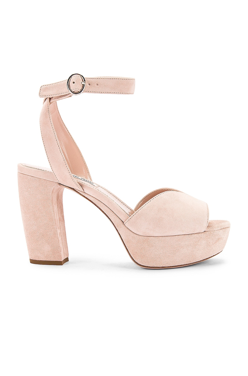 Image 1 of Miu Miu Platform Ankle Strap Sandals in Nude