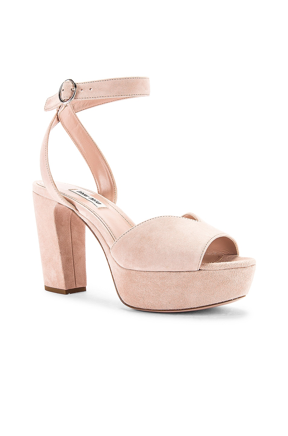 Image 2 of Miu Miu Platform Ankle Strap Sandals in Nude