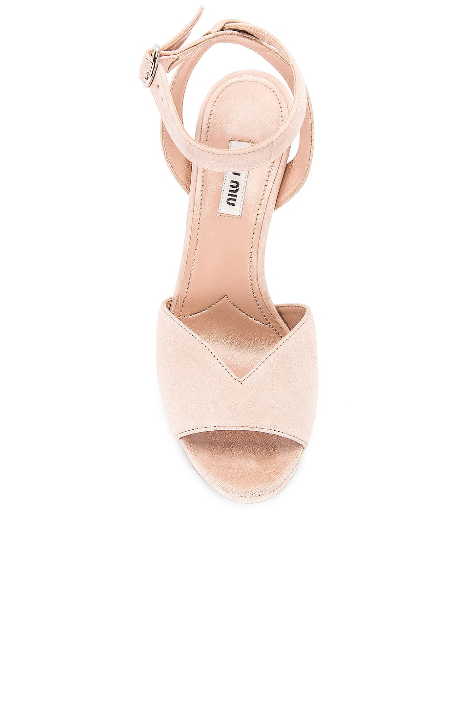Image 4 of Miu Miu Platform Ankle Strap Sandals in Nude