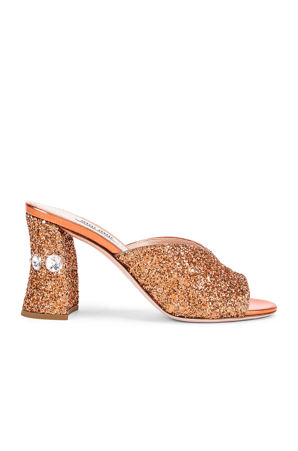 Image 1 of Miu Miu Glitter Jeweled Mules in Rame