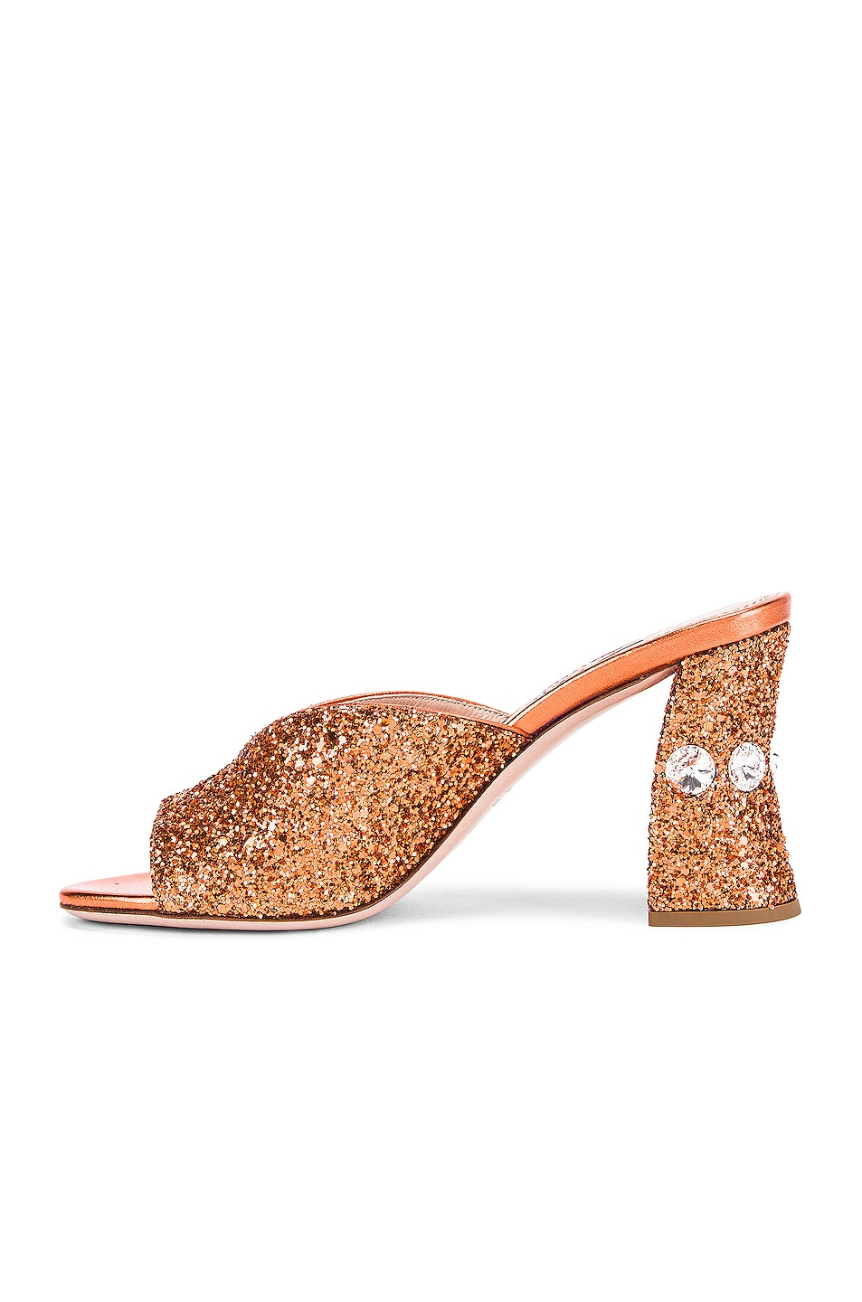 Image 5 of Miu Miu Glitter Jeweled Mules in Rame