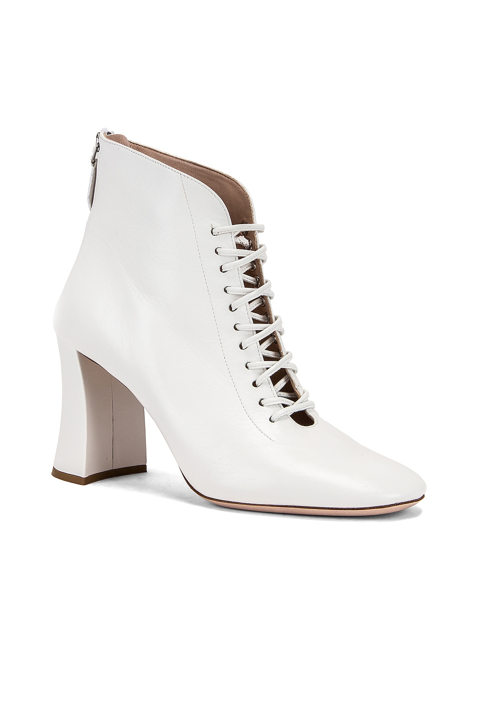 Image 2 of Miu Miu Lace Up Ankle Boots in White