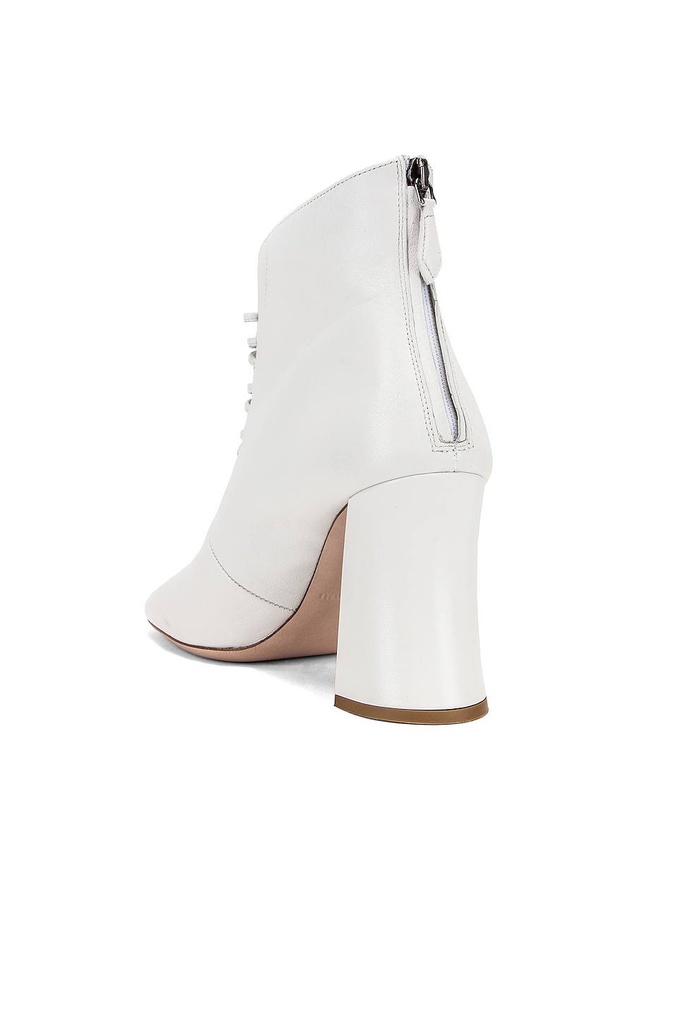 Image 3 of Miu Miu Lace Up Ankle Boots in White