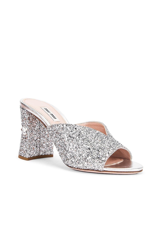 Image 2 of Miu Miu Glitter Jeweled Mules in Silver