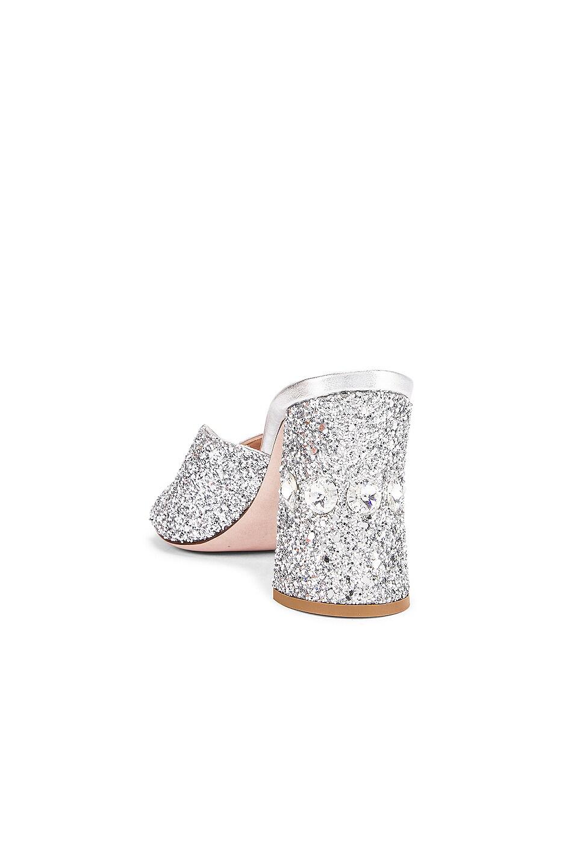 Image 3 of Miu Miu Glitter Jeweled Mules in Silver
