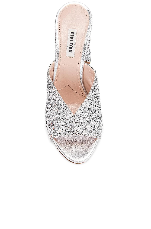 Image 4 of Miu Miu Glitter Jeweled Mules in Silver