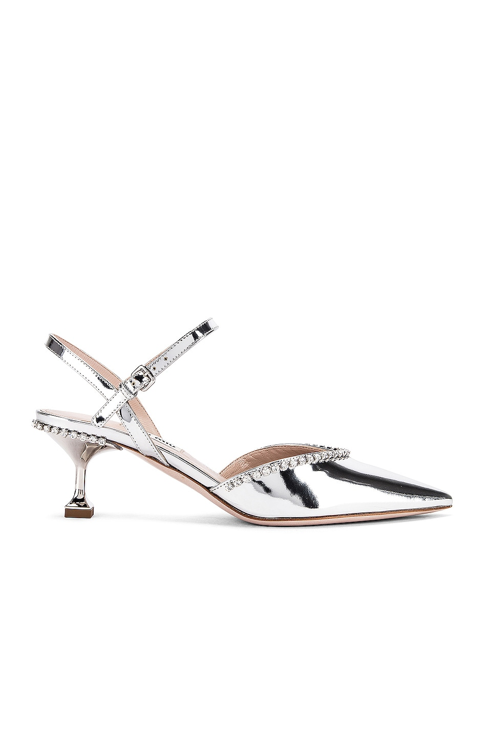 Image 1 of Miu Miu Ankle Jewel Pumps in Silver
