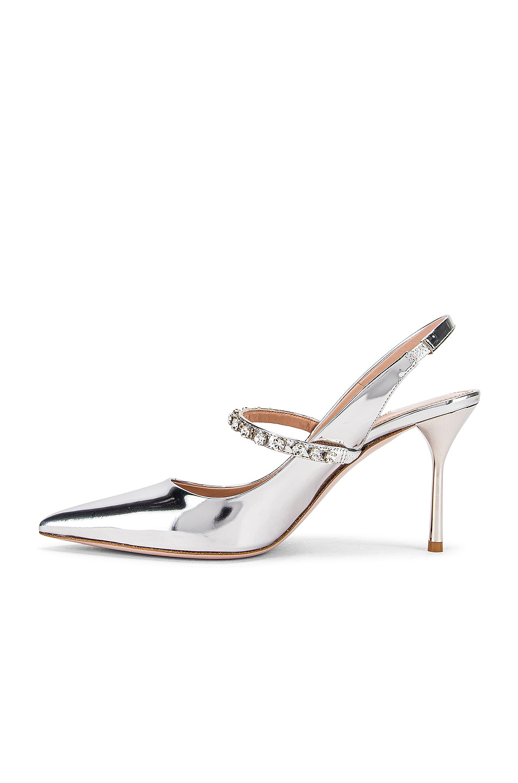 Image 5 of Miu Miu Jeweled Slingback Heels in Silver