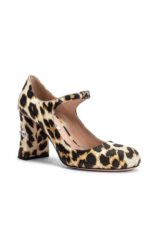 Image 2 of Miu Miu Jeweled Mary Jane Platform Heels in Leopard