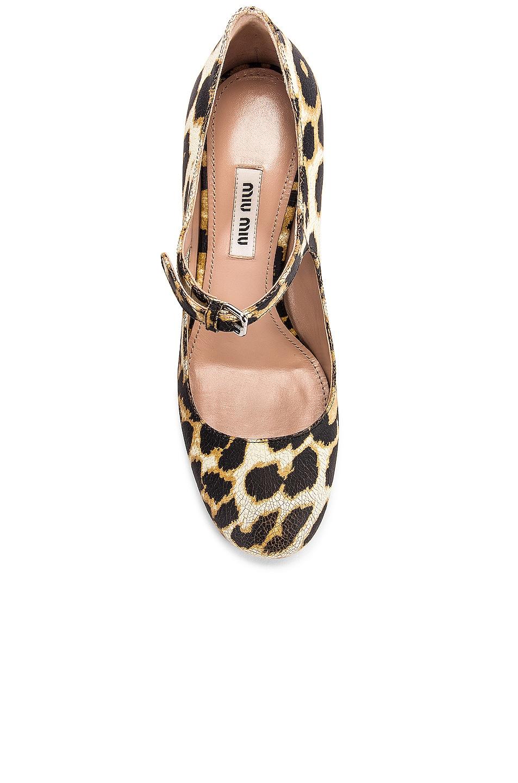 Image 4 of Miu Miu Jeweled Mary Jane Platform Heels in Leopard