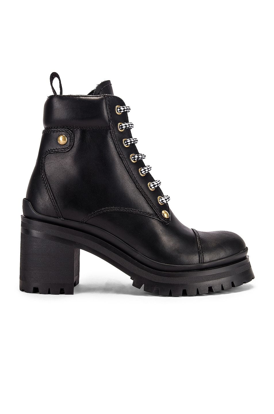Image 1 of Miu Miu Lace Up Leather Ankle Boots in Black