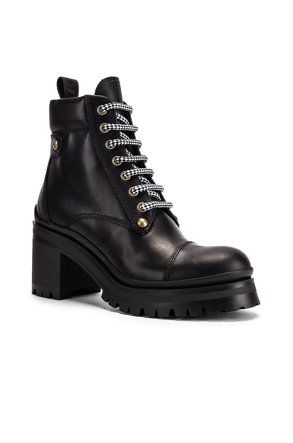 Image 2 of Miu Miu Lace Up Leather Ankle Boots in Black