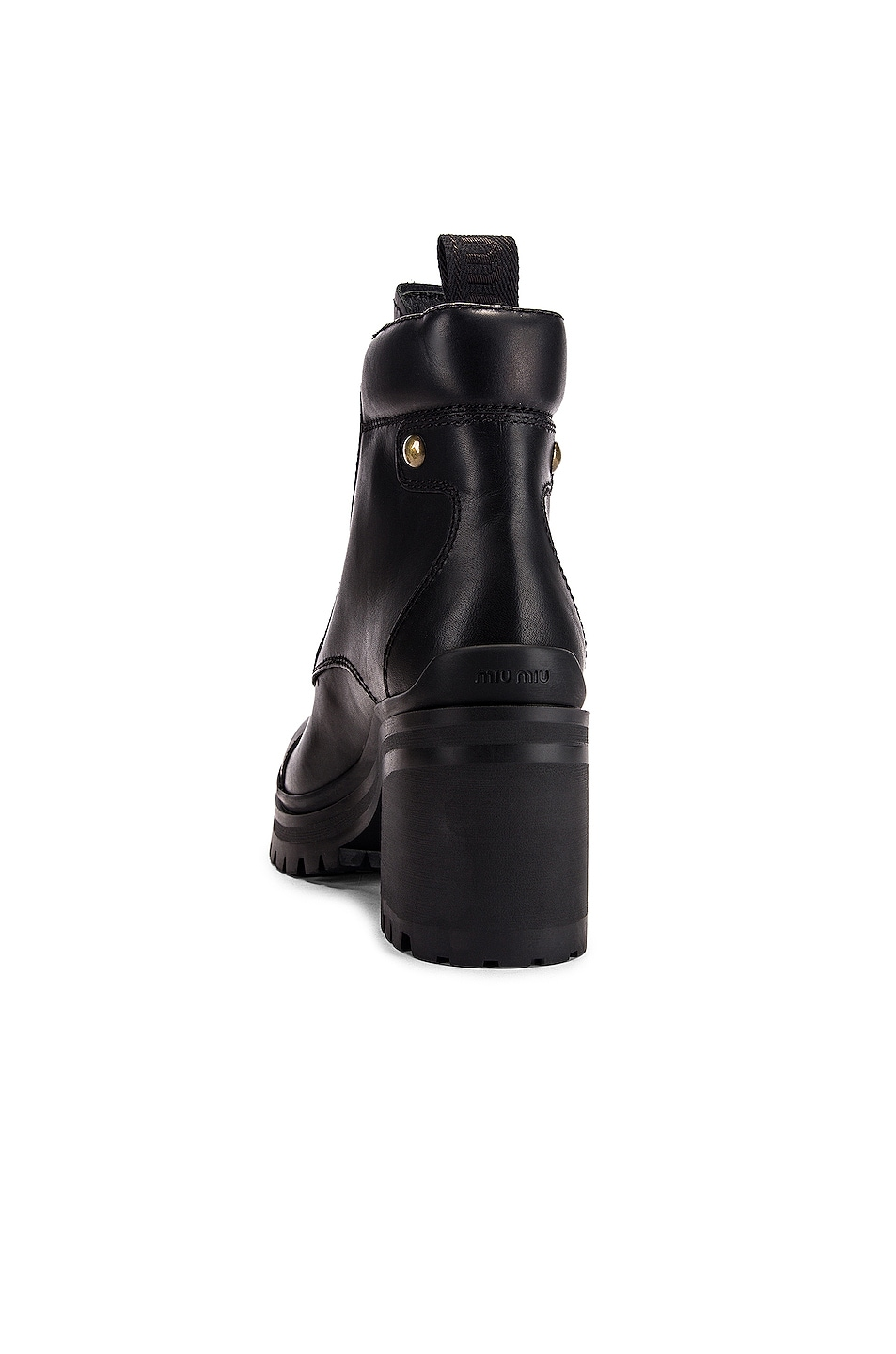 Image 3 of Miu Miu Lace Up Leather Ankle Boots in Black