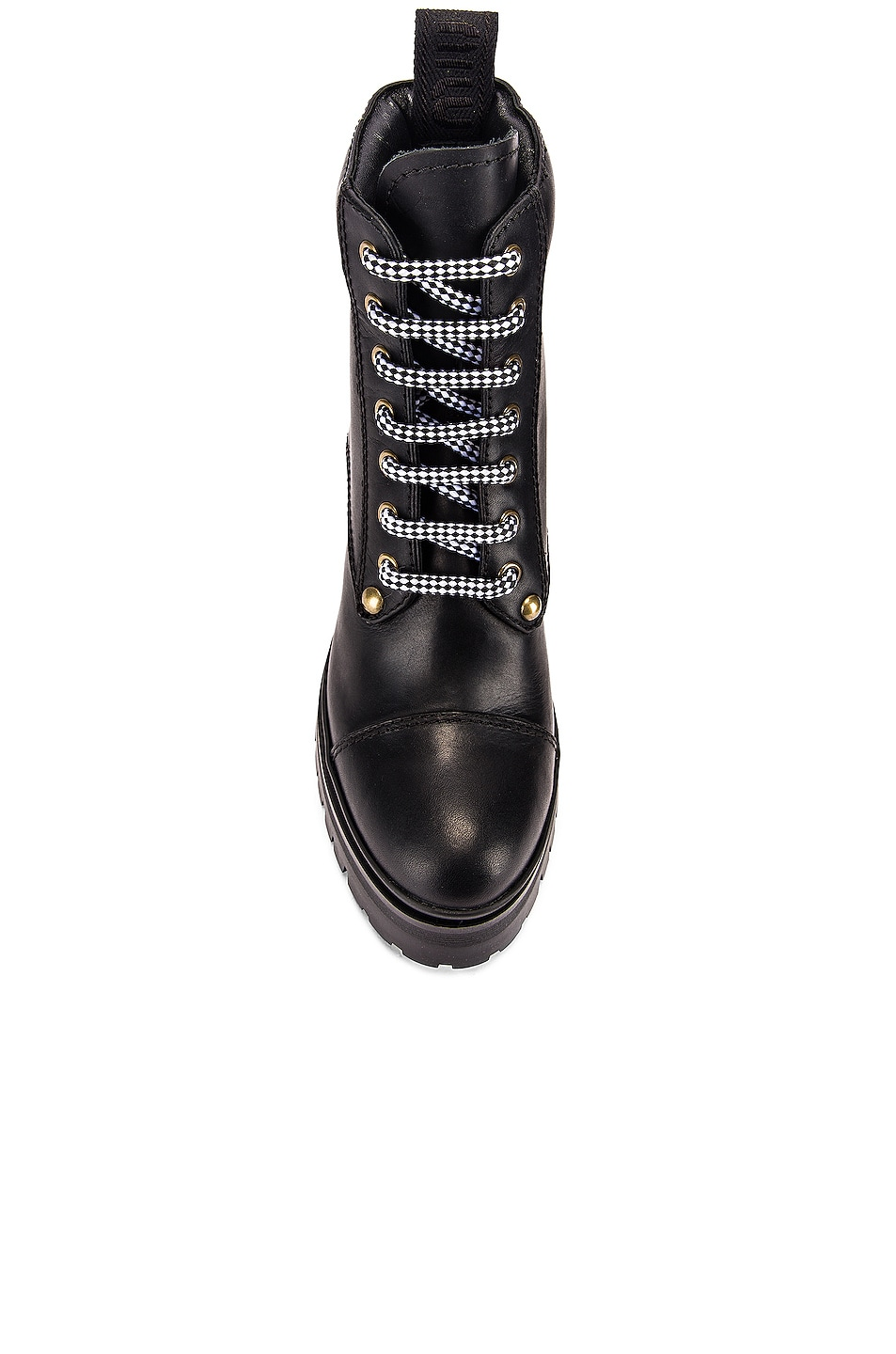 Image 4 of Miu Miu Lace Up Leather Ankle Boots in Black
