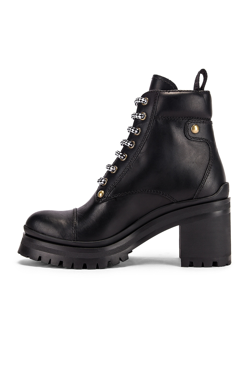Image 5 of Miu Miu Lace Up Leather Ankle Boots in Black