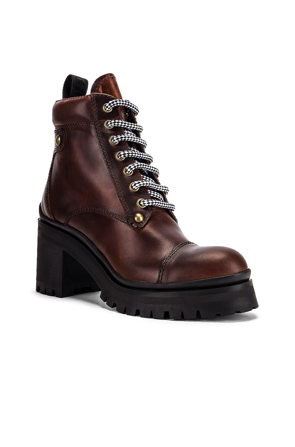 Image 2 of Miu Miu Lace Up Chunky Leather Ankle Boots in Cognac