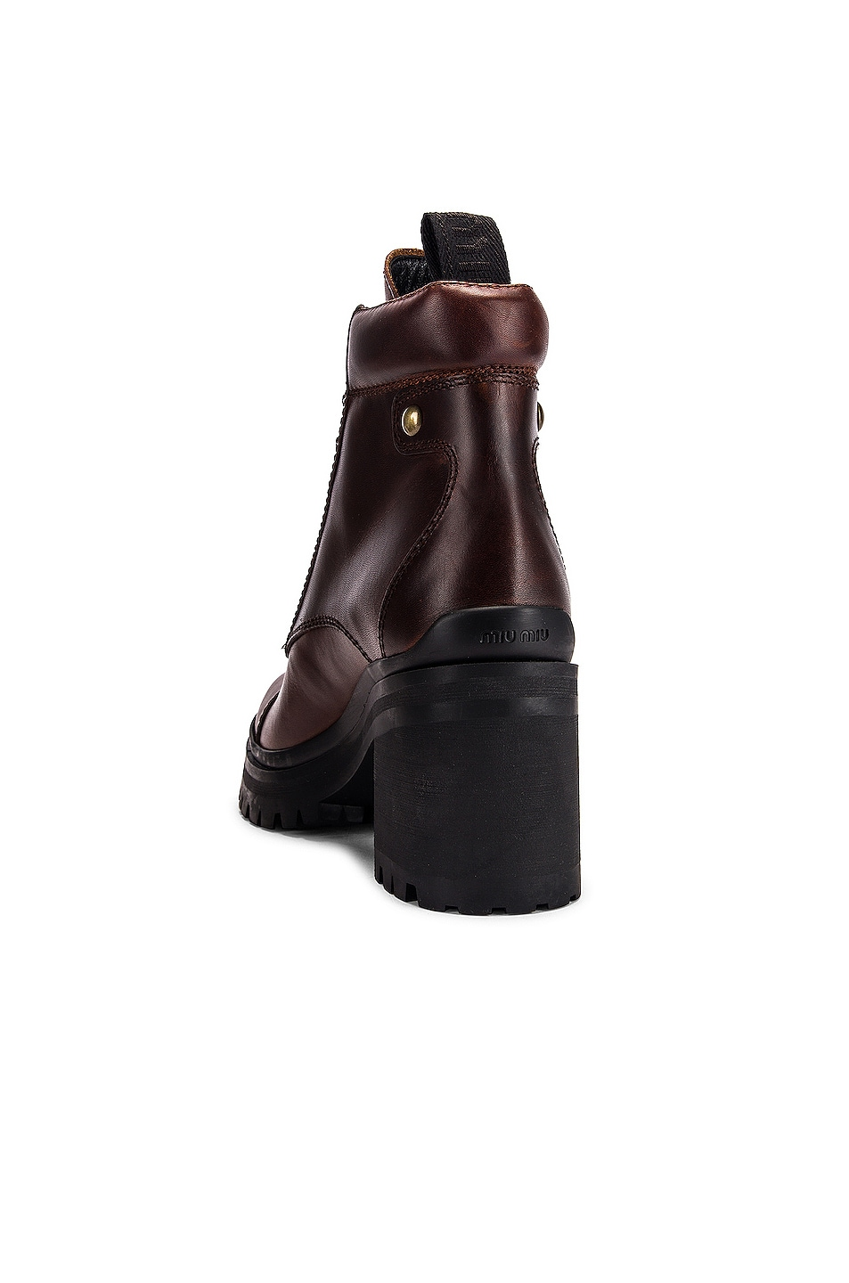 Image 3 of Miu Miu Lace Up Chunky Leather Ankle Boots in Cognac