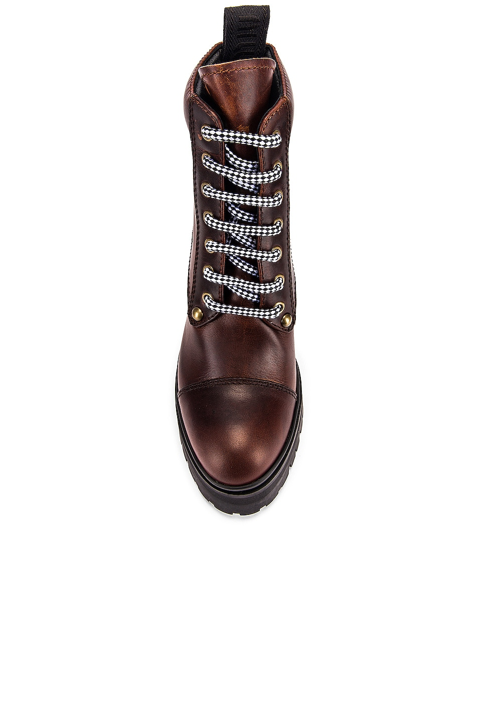 Image 4 of Miu Miu Lace Up Chunky Leather Ankle Boots in Cognac