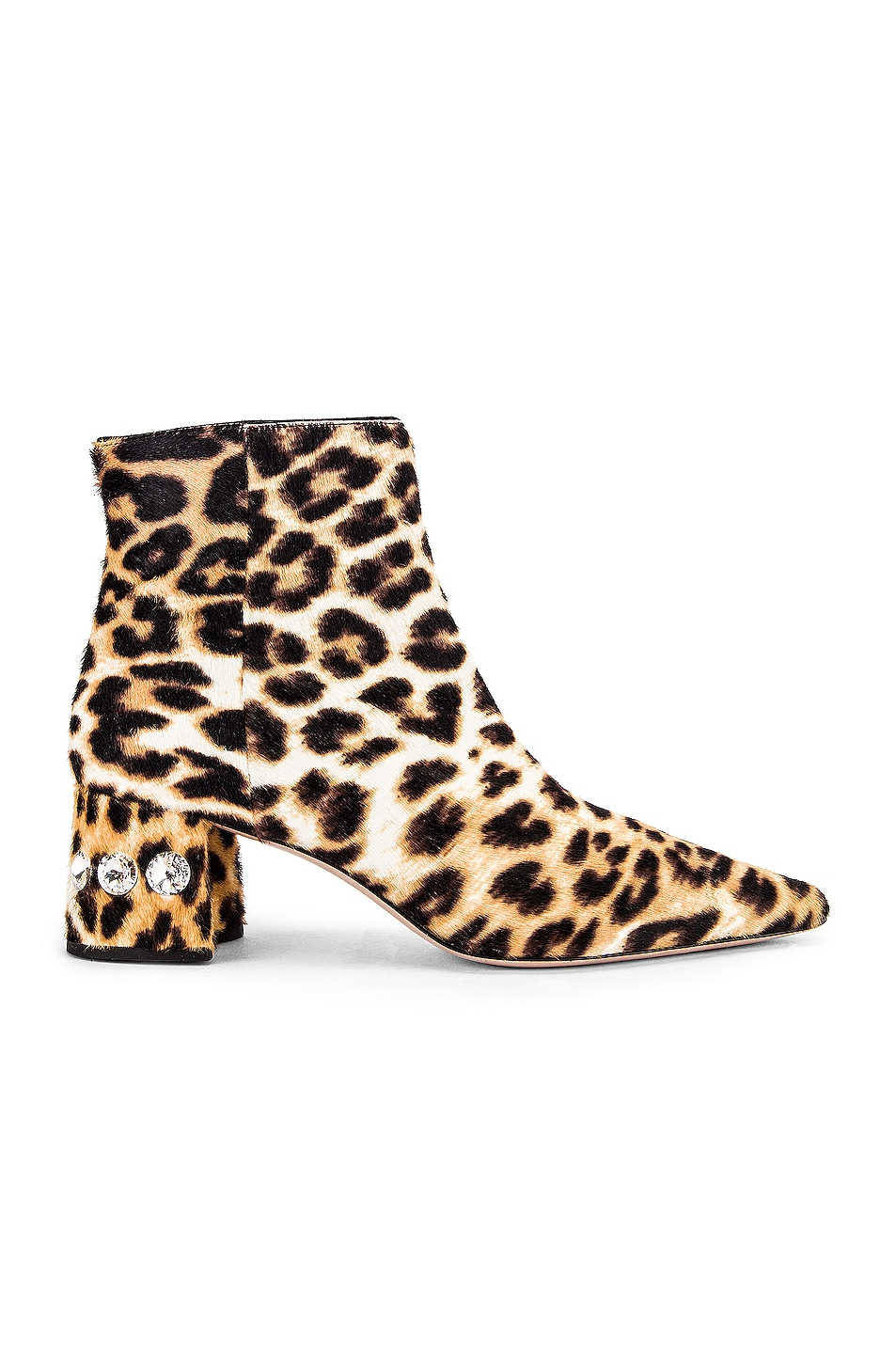 Image 1 of Miu Miu Jeweled Fur Ankle Boots in Leopard