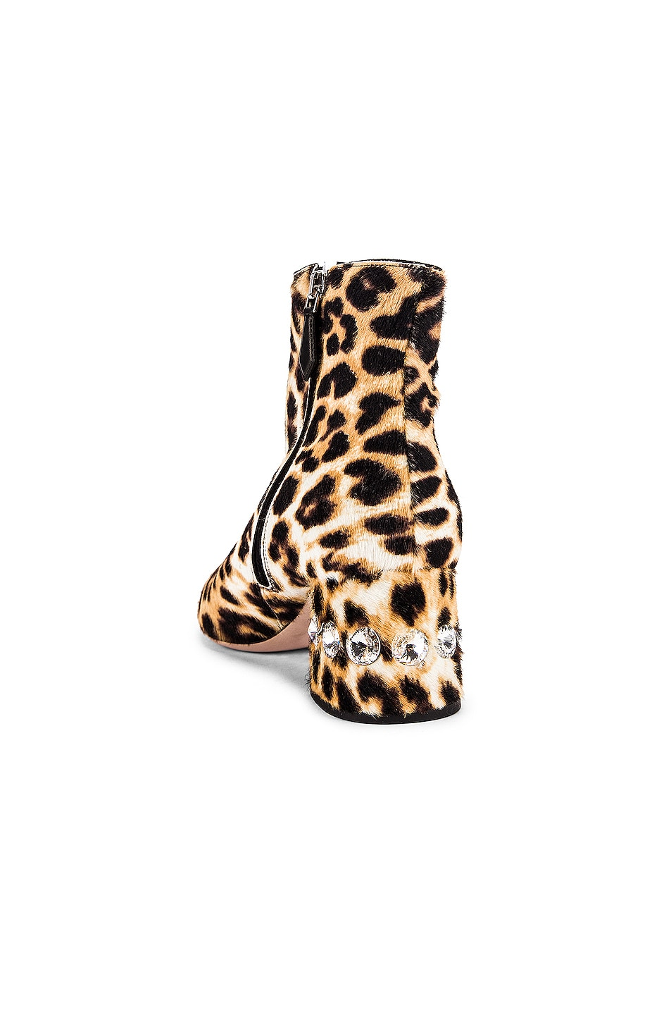 Image 3 of Miu Miu Jeweled Fur Ankle Boots in Leopard