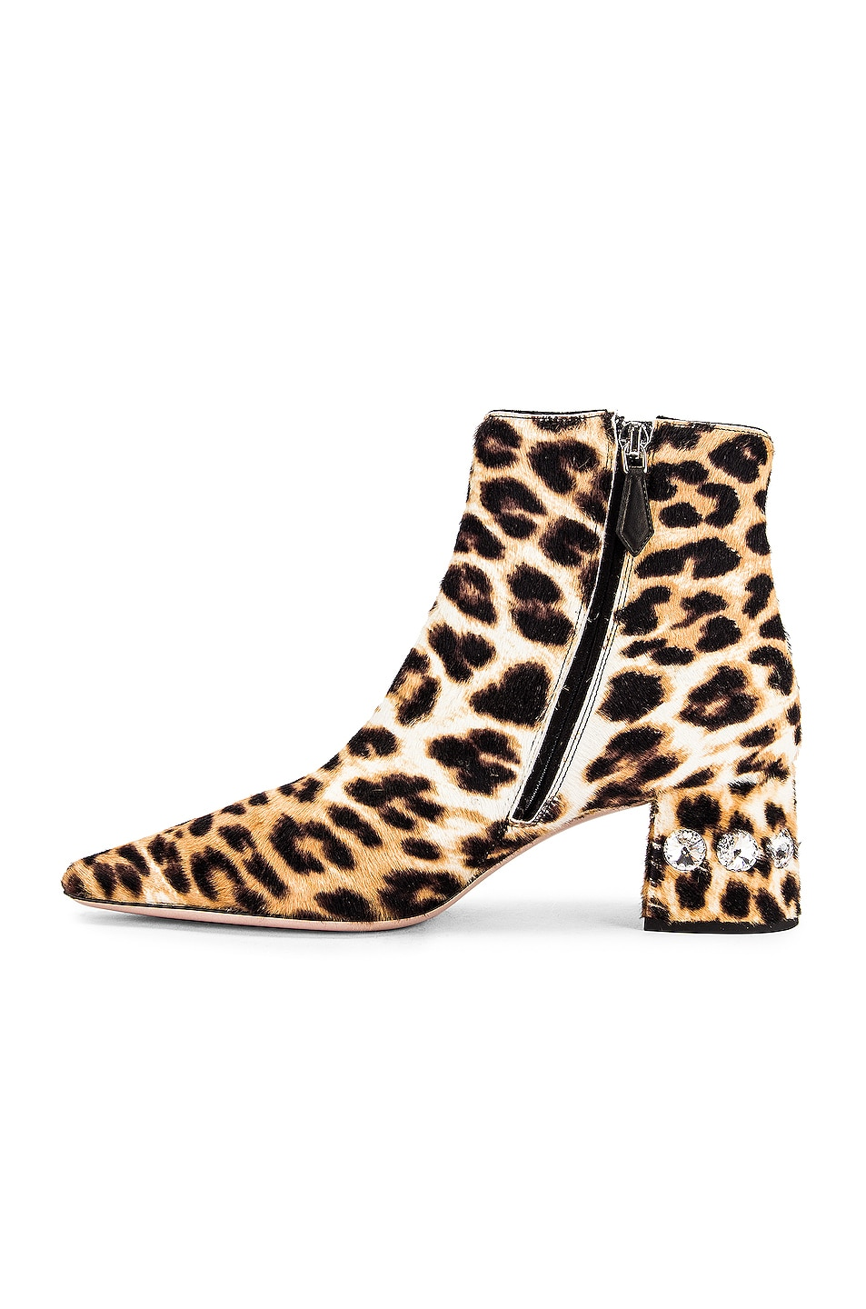Image 5 of Miu Miu Jeweled Fur Ankle Boots in Leopard