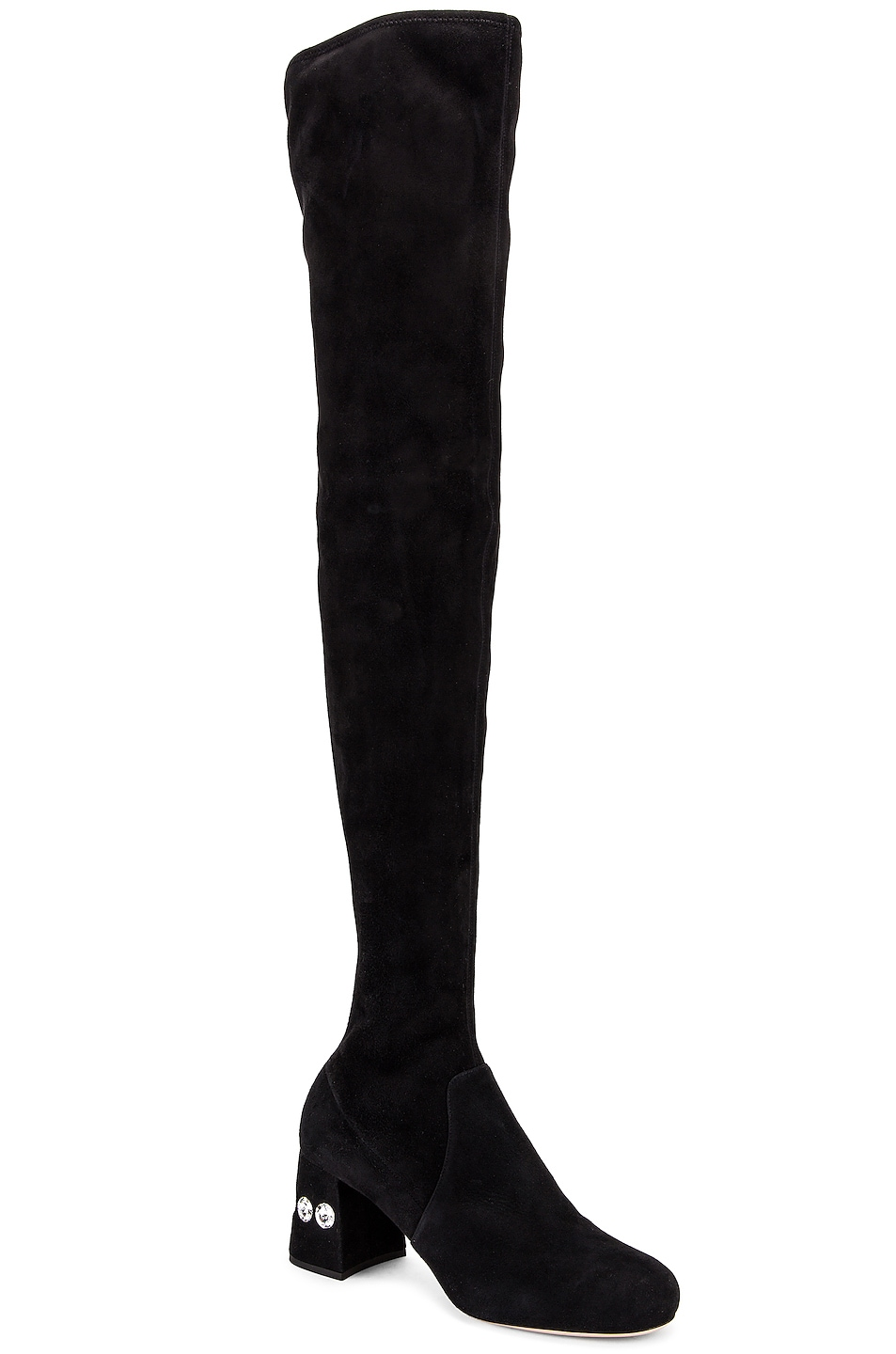 Image 2 of Miu Miu Jeweled Over the Knee Boots in Black