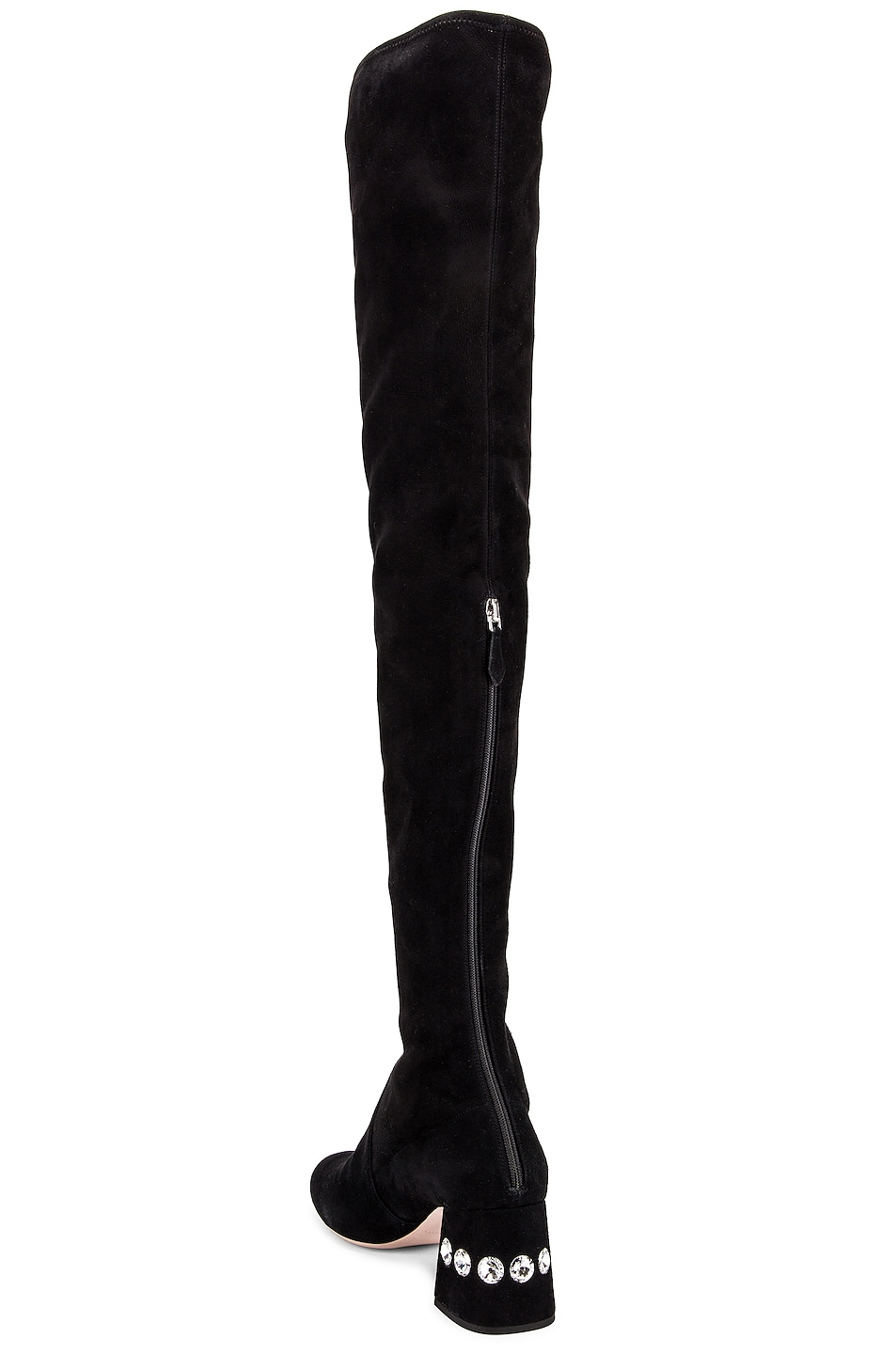 Image 3 of Miu Miu Jeweled Over the Knee Boots in Black