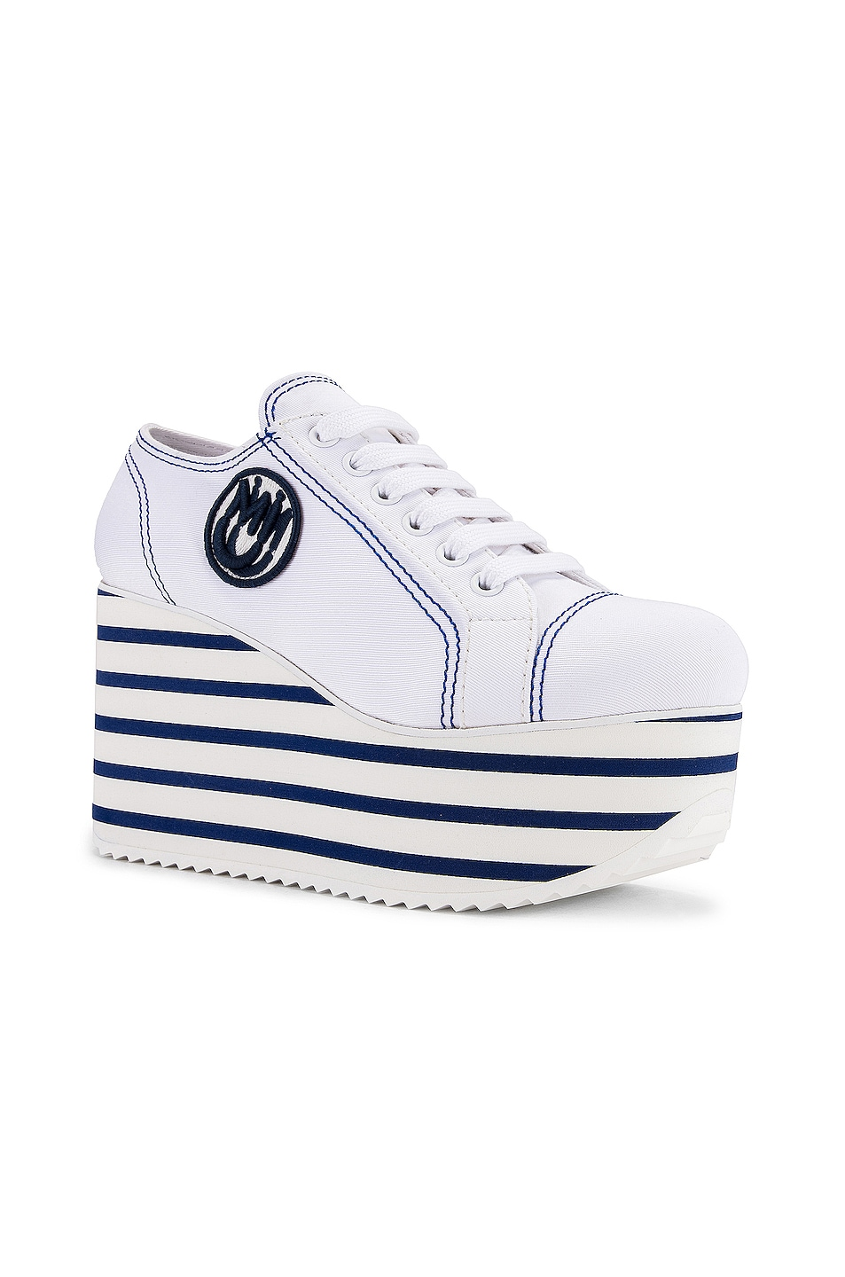 Image 2 of Miu Miu Platform Sneakers in Bianco & Bluette