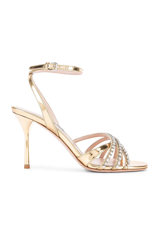 Image 1 of Miu Miu Jewel Ankle Strap Heels in Gold