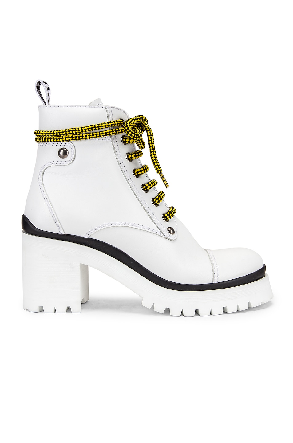 Image 1 of Miu Miu Lace Up Chunky Ankle Boots in White