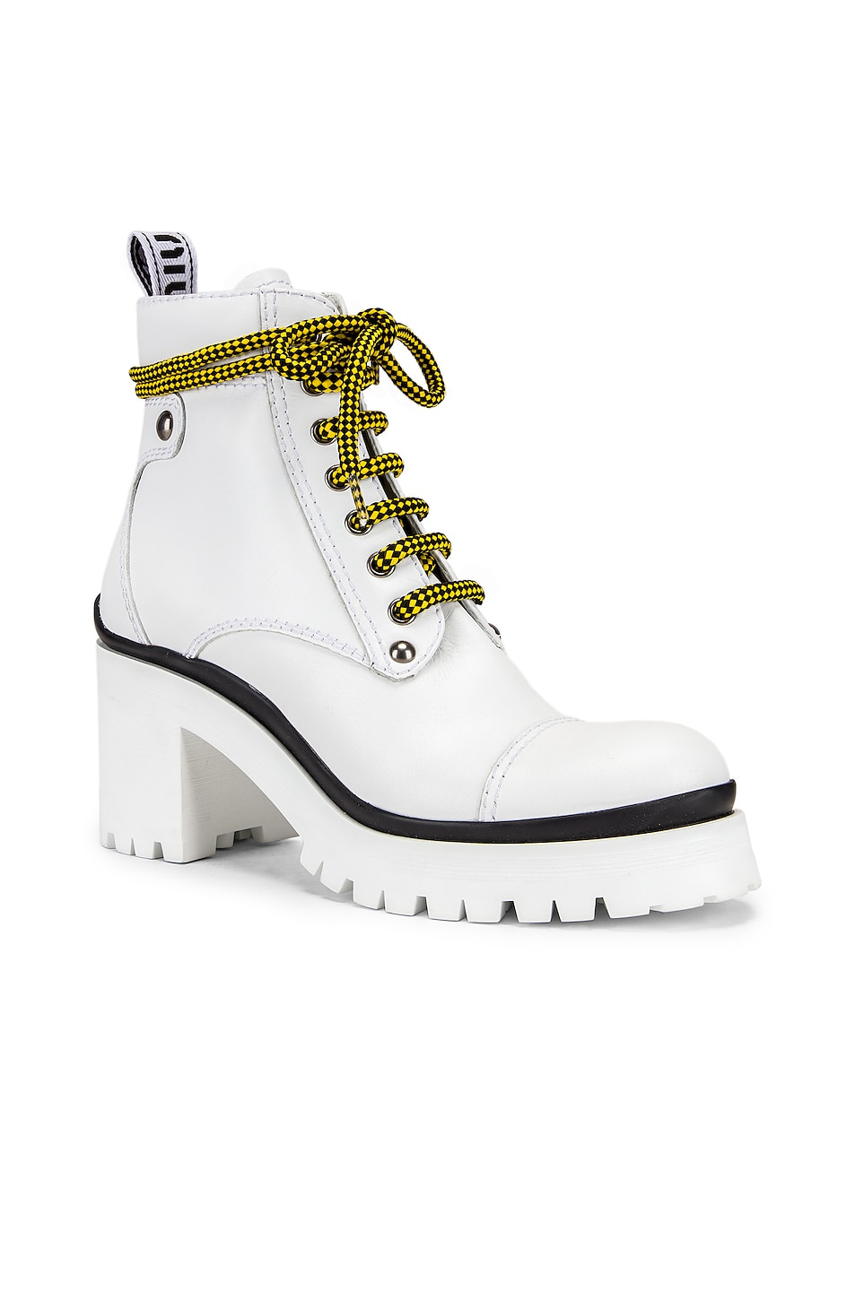 Image 2 of Miu Miu Lace Up Chunky Ankle Boots in White