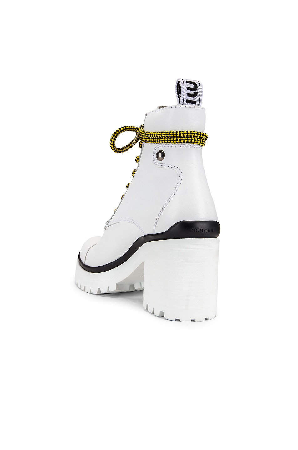Image 3 of Miu Miu Lace Up Chunky Ankle Boots in White