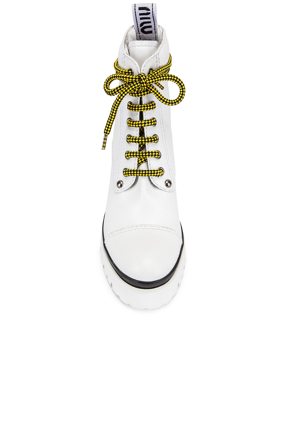 Image 4 of Miu Miu Lace Up Chunky Ankle Boots in White