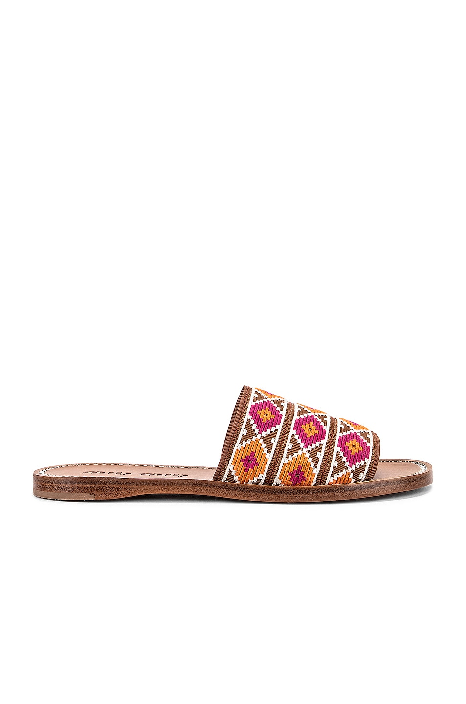 Image 1 of Miu Miu Jewel Flat Sandals in Fuxia & Papaya