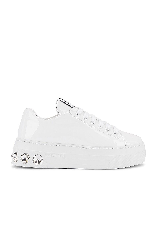 Image 1 of Miu Miu Jewel Low Top Sneakers in White