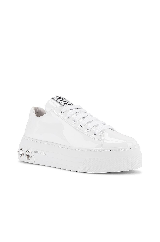 Image 2 of Miu Miu Jewel Low Top Sneakers in White