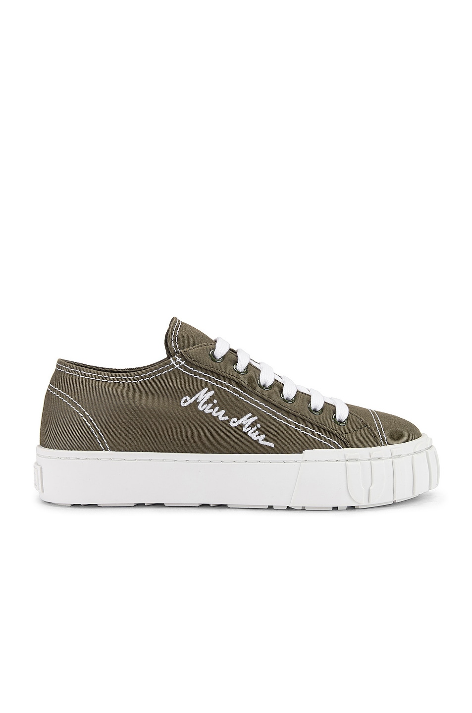 Image 1 of Miu Miu Low Top Sneakers in Military & White