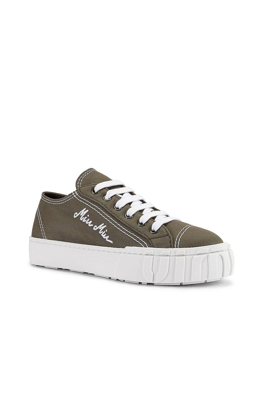 Image 2 of Miu Miu Low Top Sneakers in Military & White