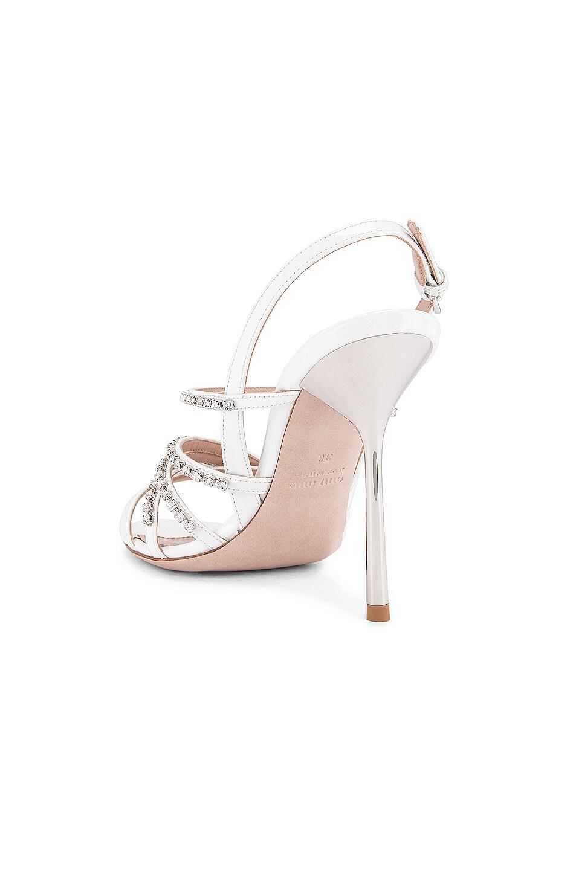 Image 3 of Miu Miu Jewel Slingback Heels in White