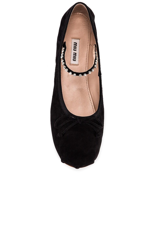 Image 4 of Miu Miu Embellished Ballerina Flats in Black