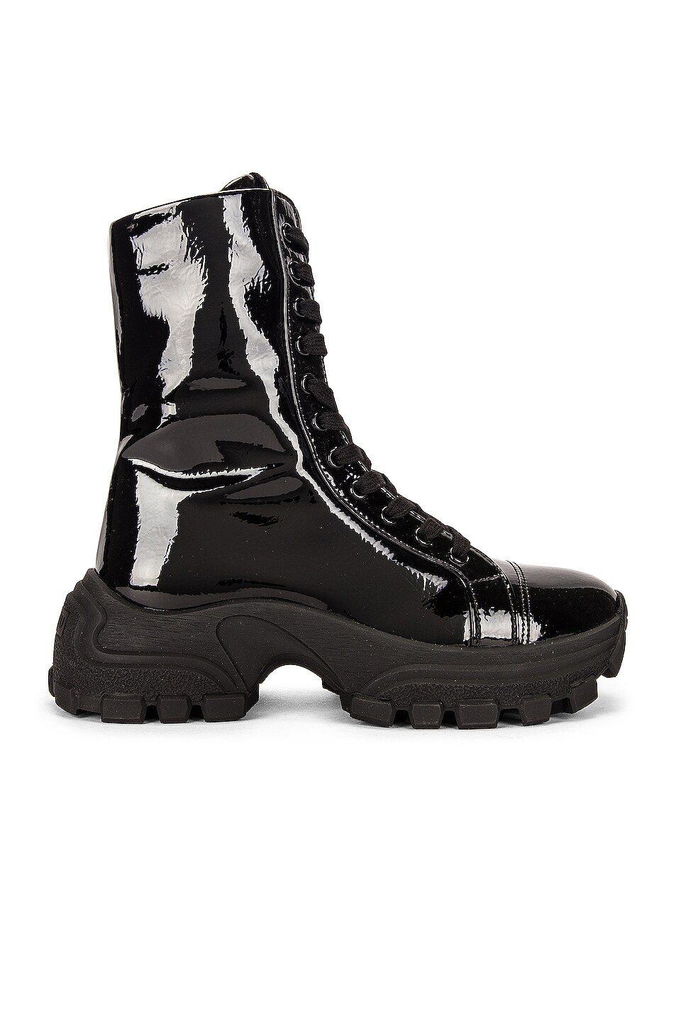 Image 1 of Miu Miu Lace Up Combat Boots in Nero