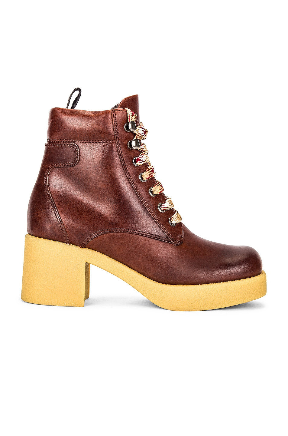 Image 1 of Miu Miu Platform Lace Up Ankle Boots in Cognac