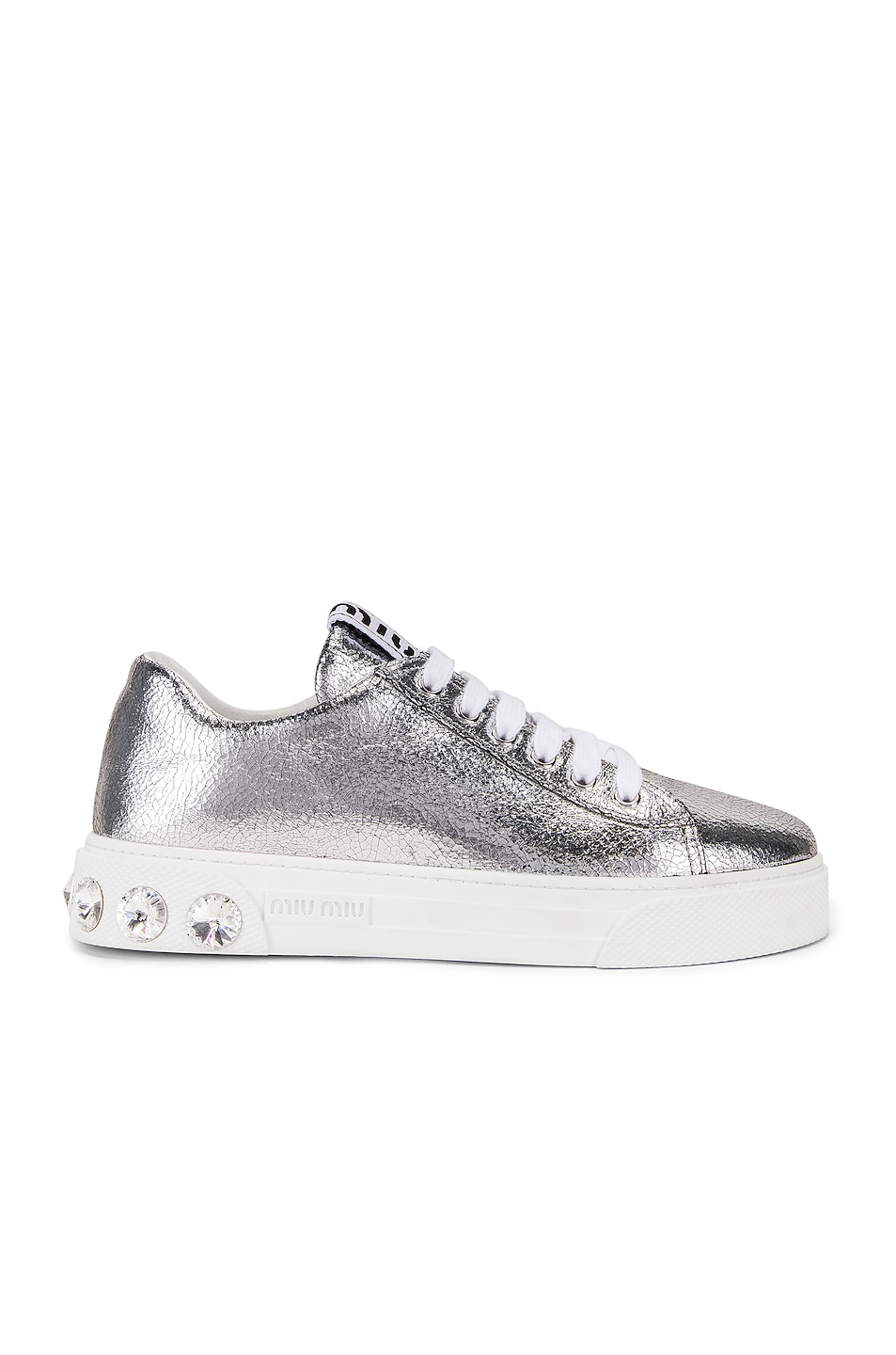 Image 1 of Miu Miu Jeweled Sneakers in Silver