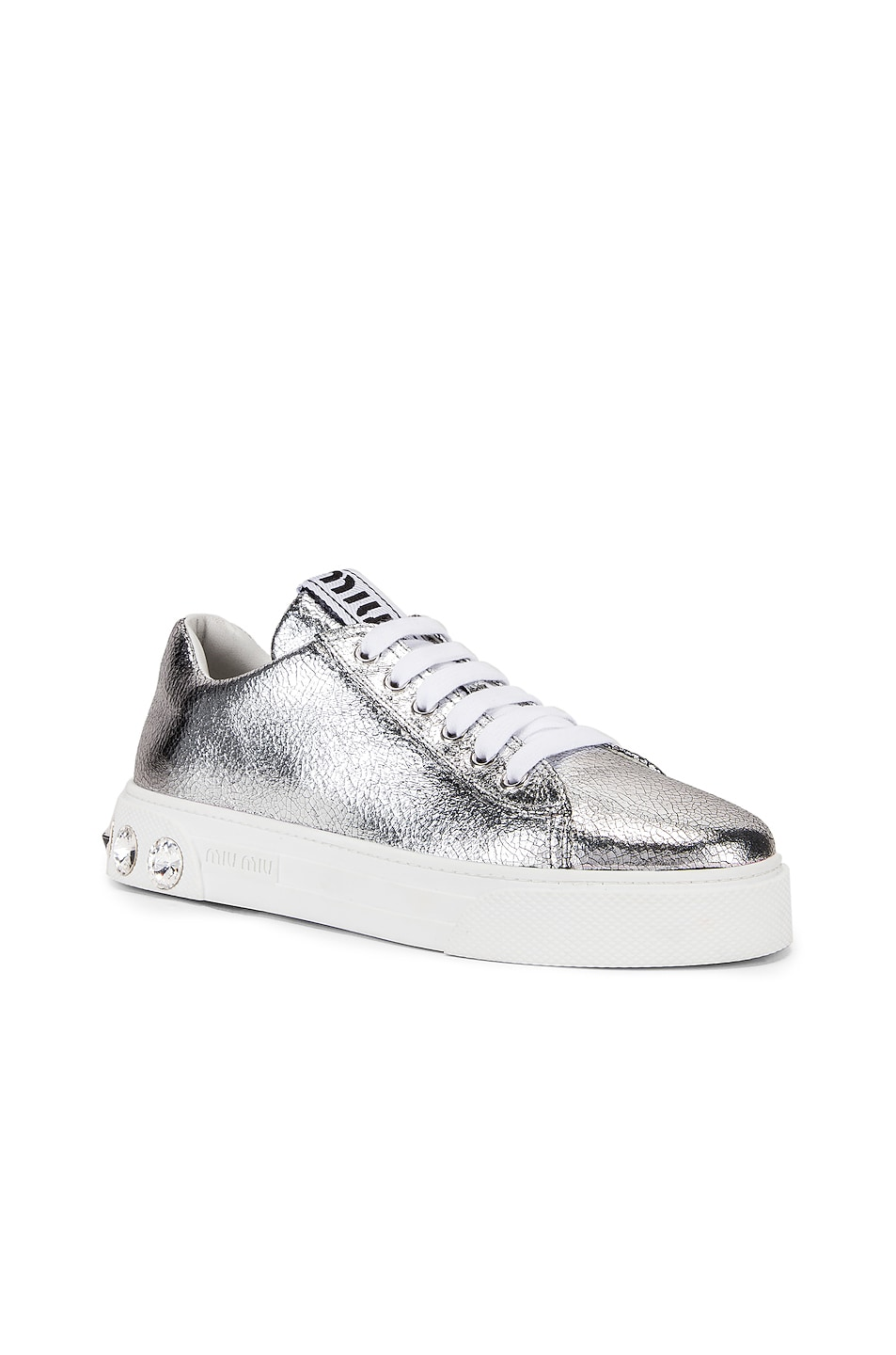 Image 2 of Miu Miu Jeweled Sneakers in Silver