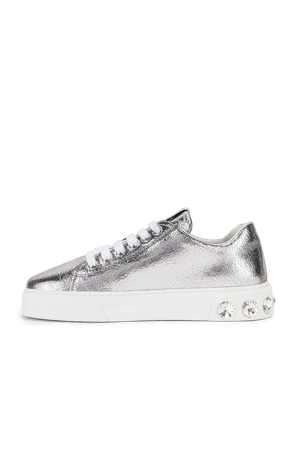 Image 5 of Miu Miu Jeweled Sneakers in Silver