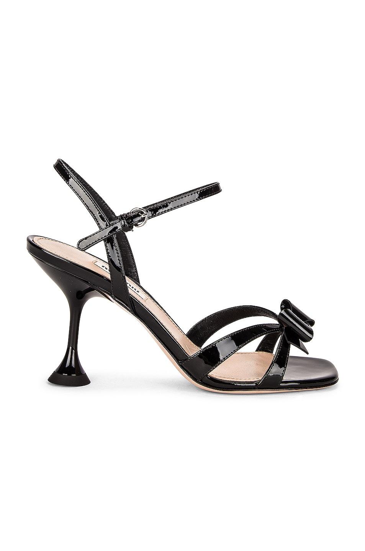 Image 1 of Miu Miu Patent Leather Sandals in Nero