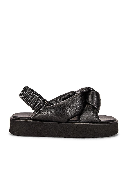 Image 1 of Miu Miu Padded Leather Flatform Sandals in Nero