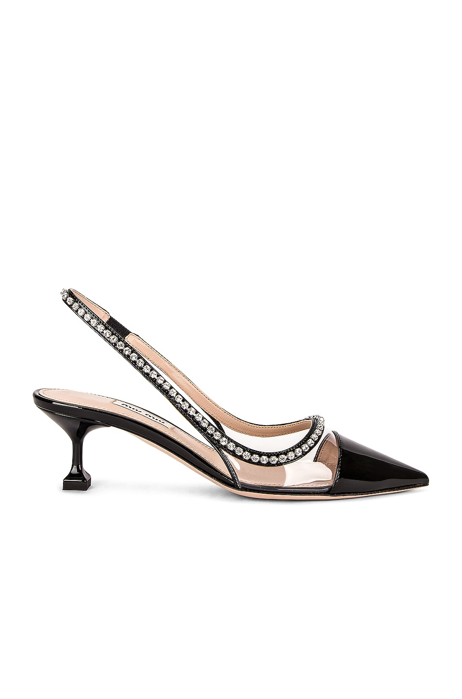 Image 1 of Miu Miu Patent Leather & Vinyl Slingback Pumps in Nero